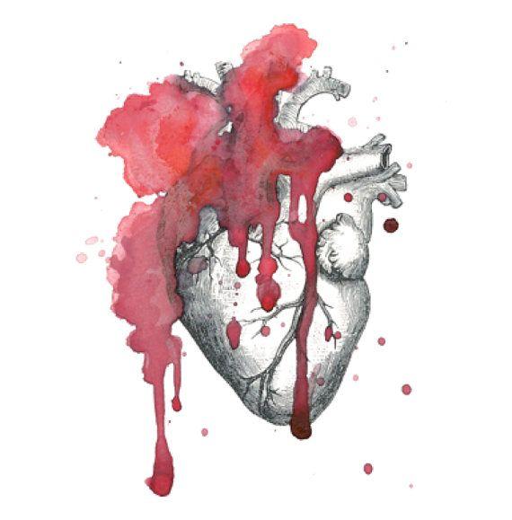 Voller Liebe  Ein blutig rot Aquarell Jahrgang anatomischen Herz mit einer Serienbildfunktion Aorta, tropft Sie Ihren Arm oder Rücken oder wenn