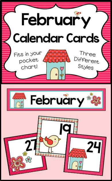 June Calendar Header : Pocket chart cards for your february calendar includes