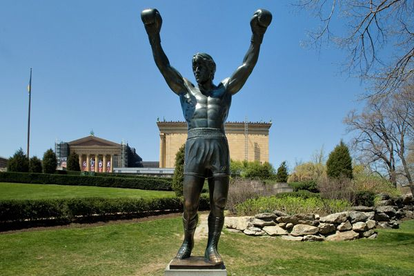 The Italian Stallion, cast in bronze outside of the Philadelphia Museum of Art    (Credit: By J. Smith for GPTMC)