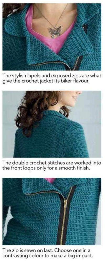 Crochet biker jacket free pattern
