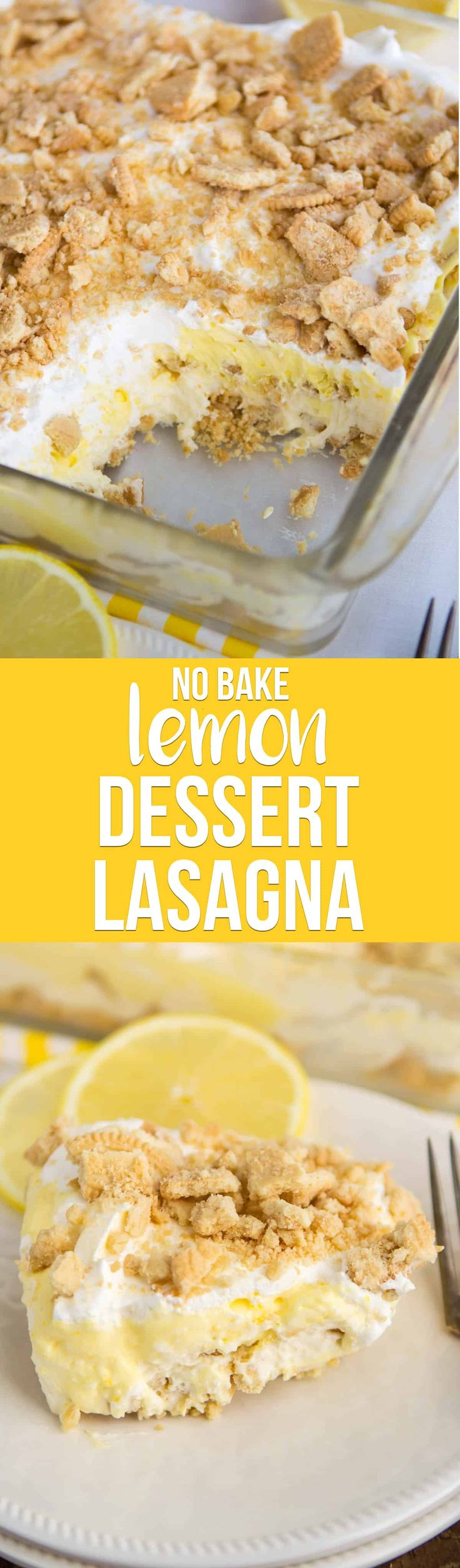 No Bake Lemon Dessert Lasagna has a Golden Oreo crust and is full of lemon flavor from pudding and curd. It's the BEST EVER lemon dessert recipe! via @crazyforcrust