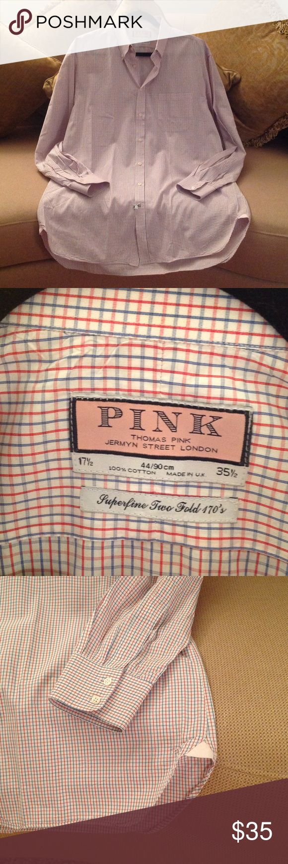 🇬🇧 'Pink' Thomas Pink Jermyn Street - Shirt Men's 'Pink' - Thomas Pink Jermyn Street London. Very well made Business Casual Long sleeved shirt. Size 17.5 / 35.5. Red, Blue and Pink checked. 100% Cotton. Made in the UK. New condition. Worn once, then Drycleaned. Check out the light Pink Diamond insignia on both sides at the hem. Sharp 🇬🇧! Thomas Pink Shirts Casual Button Down Shirts
