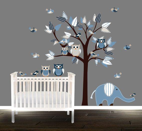 Boys Owl Wall Decal, Nursery Tree, Vinyl Stickers, Wall Tree, Blue, Part 56