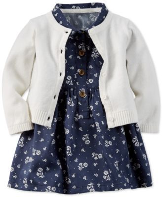 Carter's Baby Girls' 2-Piece Woven Dress & Cardigan Set