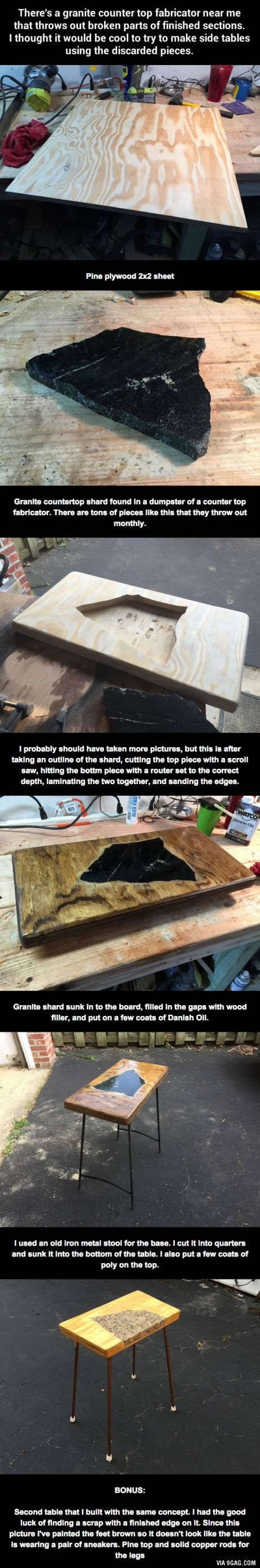 There's a granite counter top fabricator near this guy that throws out broken parts of finished sections, so he…9GAG