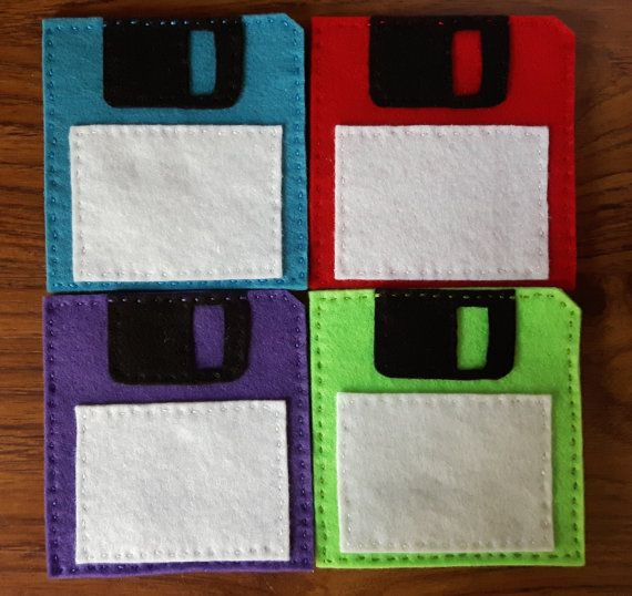 Felt 3.5'' floppy disk coaster set of 4 by OfflinePixels on Etsy