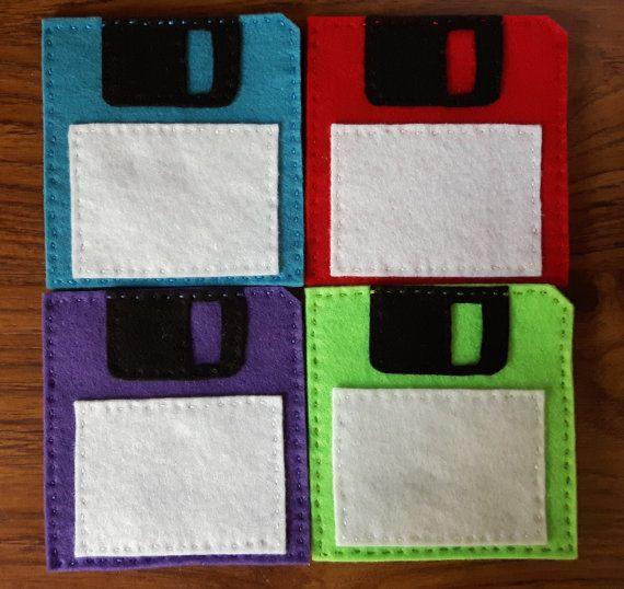 Felt 3.5'' floppy disk coaster set of 4 by OfflinePixels on Etsy