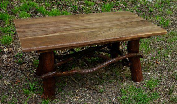 Rustic Coffee Table Handmade Log Cabin Furniture Real Black