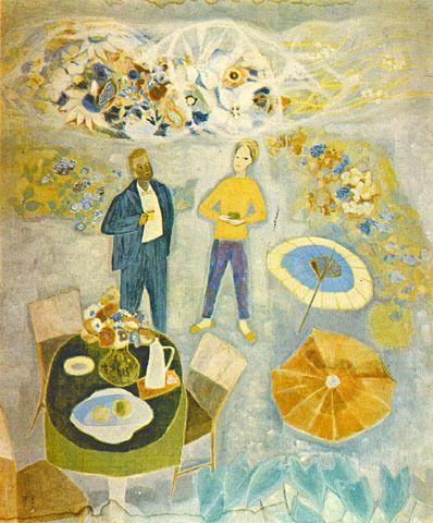 (Korea) Two people,1962 by Chun Kyung-ja (1924-2015). 천경자. 두사람.