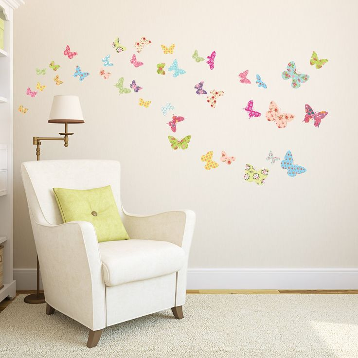 Wall Design For Kids paintings Decowall Dw 1408 Patterned Butterflies Peel And Stick Nursery Kids Wall Decals Stickers