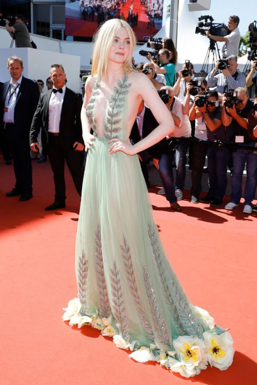 Elle Fanning at Cannes Film Festival 2017 : It's a absolutely wonderful floral embroidered, crystal-embellished Gucci gown and Elle wore it flawlessly. What I specifically love about this look is that it's so simple. From the hairstyle to the minimal...