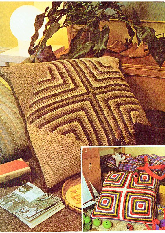 PDF Vintage 1970s GIANT Groovy Cushions Crochet Pattern