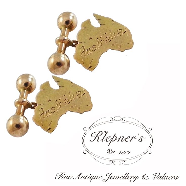 9ct rose gold antique Edwardian engraved Australiana cufflinks, crafted in the shape of  Australia, finished with dumbbell & chain fittings.  Visit us at www.klepners.com.au
