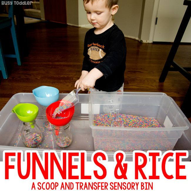 Funnels and Rice: A Perfect Sensory Bin