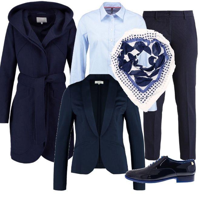 Stile quasi maschile per una proposta pensata per una giornata al lavoro, all'insegna della praticità senza rinunciare all'eleganza. i pantaloni blu sono abbinati alla camicia di taglio classico e alla giacca , da indossare con il cappotto con cintura da annodare in vita e scarpe stringate . Un foulard nei toni del bianco e del blu completa la composizione.