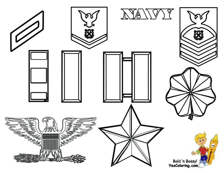noble army coloring rank insignia patches navy marines and those army and - Army Coloring Pages