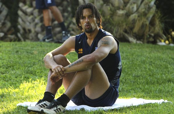 Amauri Carvalho De Oliveira of Parma FC looks on during Parma FC Pre-Season Training Session at Rosa Marina Resort on July 10, 2013 in Ostuni, Italy.