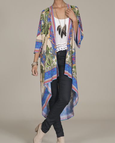 Long Kimono Cape with Bell Sleeves – Bohemian Tapestry