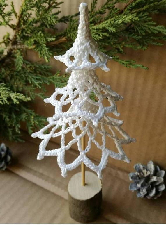 Christmas tree Home decoration Crochet Ornament knitting tree Christmas gift white knit wood little tree Holiday decor Are you ready to get into the New Year spirit? This unusual Christmas tree is perfect for your Christmas table, for the children's room, for your office or where you
