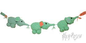 Kreaposen: Barnevognkæde - Babyelefanter