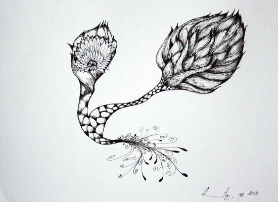 Dvojstvo / Duality (tuš na papiru / ink on paper) by Renata Ceković