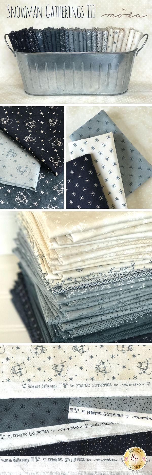 Snowman Gatherings III is a frosty winter collection by Primitive Gatherings for Moda Fabrics available at Shabby Fabrics