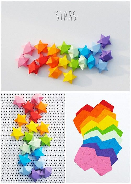 #star #paper #papier #étoile #DIY #multicolore #origami #arc-en-ciel #rainbow colors