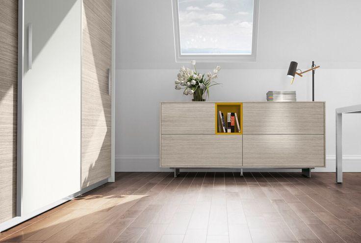 comp. CA016 - #armadio #archivio per #ufficio con ante scorrevoli presentate in versione bicolore e #madia per casa o ufficio con inserto colorato a giorno.