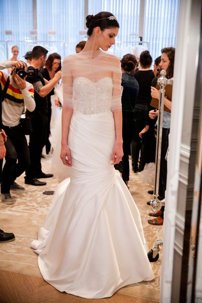 Behind the scenes at the Monique Lhuillier show at New York Bridal Fashion Week 2015. Image: Getty