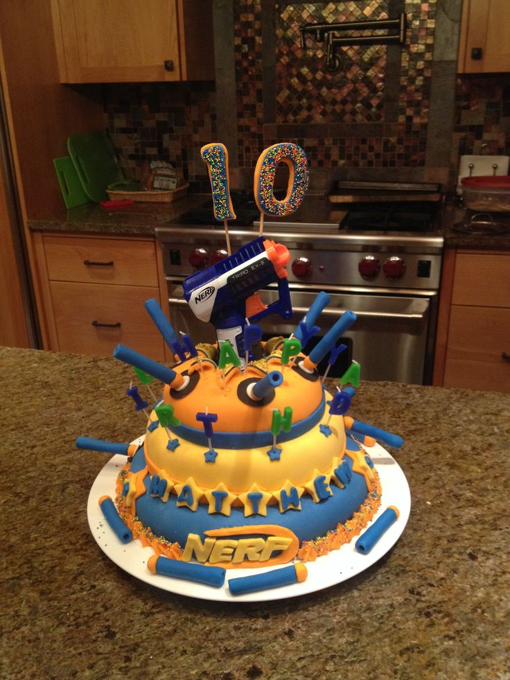 Nerf Camouflage Cake with fondant bullets
