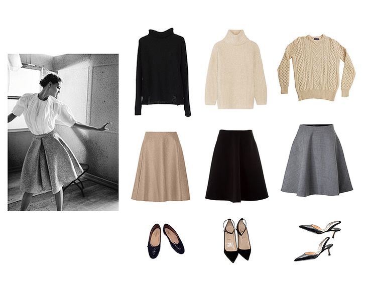 The uniform I'm wearing this fall, sourcing my skirts and sweater now! Those slingbacks sure are...