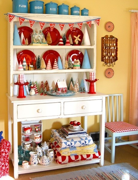 White hutch, red, turquoise, bunting, quilts, checkers, Christmas and more!