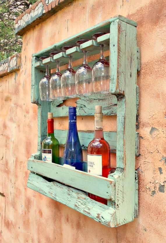 Rustic Wood Wine Rack, Very Distressed Turquoise, Pallet Wine Rack,Wine Storage 5 glass holder, Hang or Stand Up, Aged Pallet Lumber, Unique