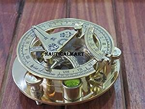 NauticalMart Brass Sundial Compass Vintage Pocket Compass Travel Accessories