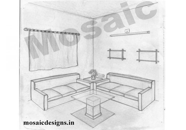 1 point perspective drawing room two point perspective