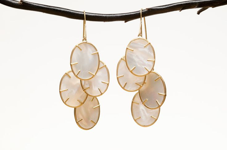 "Intricately Detailed Mother of Pearl ""Silver Dollar"" Earrings by Annette Ferdinandsen"