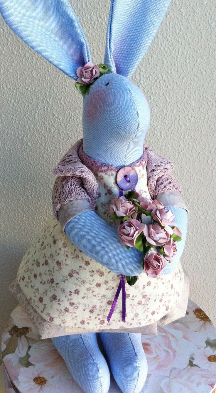 """Текстильная кукла """"Пасхальный кролик. Лавандовый."""""""