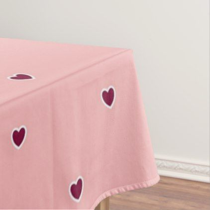 Red hearts on pink tablecloth - red gifts color style cyo diy personalize unique