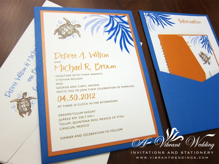 Sea Turtle Wedding Invitations: 11 Best Images About Navy Blue And Orange Wedding On