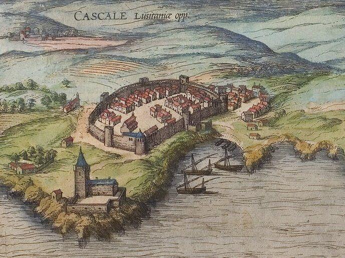 Pormenor da vila de Cascais presente numa gravura publicada por Georg Braun e Frans Hogenberg (1572). O arquétipo da gravura deverá remontar a finais do século XV ou a inícios do seguinte.