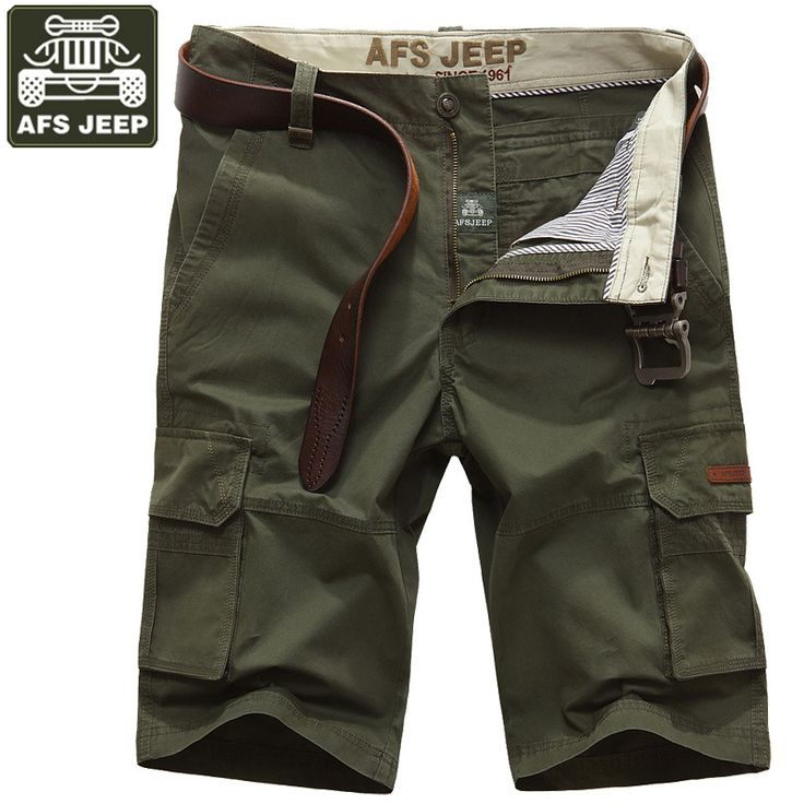 AFS JEEP Summer Short Mens Shorts Casual Fashion Cotton Cargo Shorts Moletom Masculino Multi-pockets Bermuda Masculina Men Short