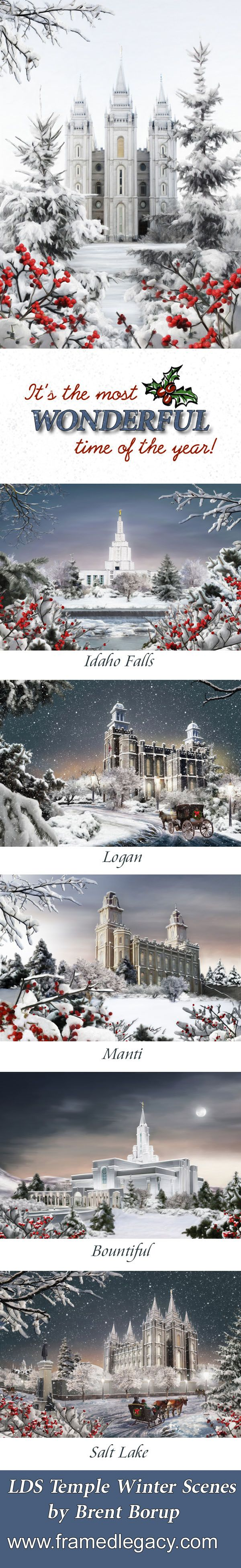 LDS Temple Winter Scenes by Brent Borup.  I love this Christmas season. The church is true