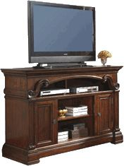 Ashley Alymere Large TV Stand with Fireplace Option - With the rich rustic brown finish flowing beautifully over the scrolling ornamental detailing and elegant stacked moulding style, the Alymere entertainment collection offers a rich traditional design to enhance the decor of any home while giving you the function and storage you have been looking for in any entertainment furniture.
