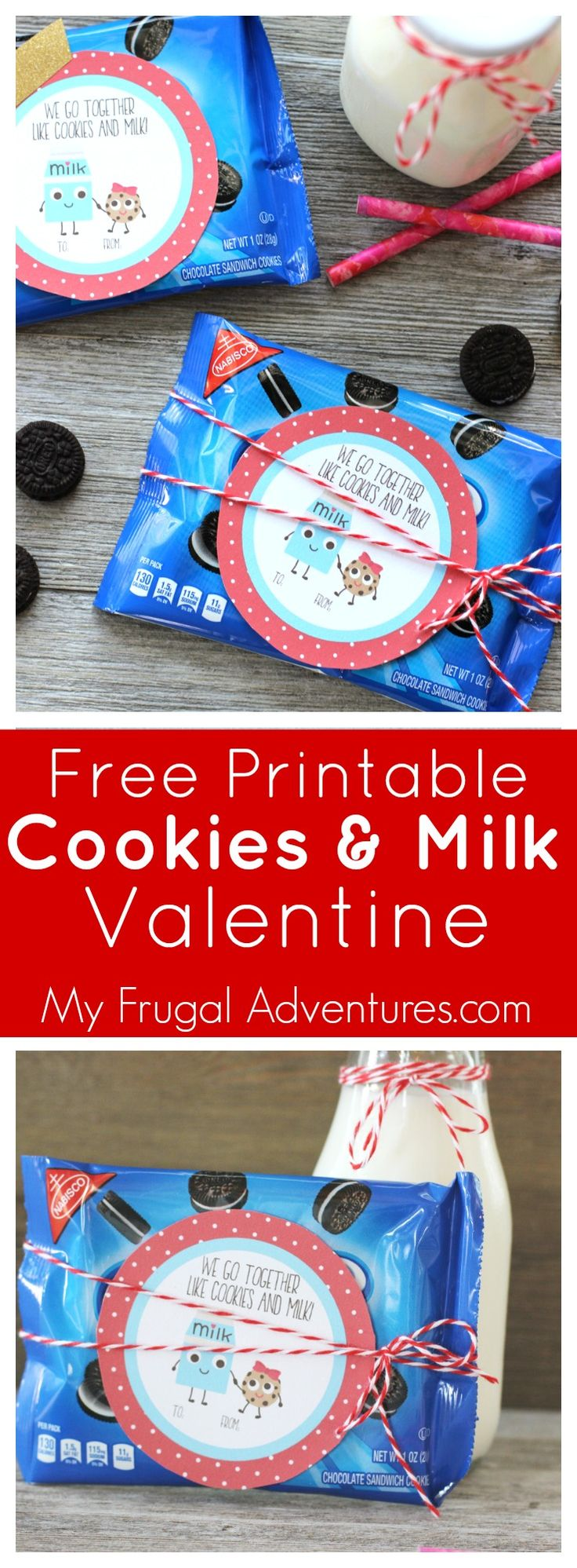Adorable Free Printable Cookies and Milk Valentine- use this with your favorite cookie for Valentine's or add milk for class parties.