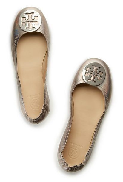 Tory Burch Minnie Metallic Travel Ballet - designed to fold up neatly into  a tote or