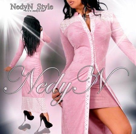 NedyN szarvasbőr hatású rózsaszín női maxi ruha - kardigán