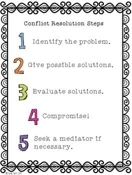best conflict resolution activities ideas conflict resolution steps poster