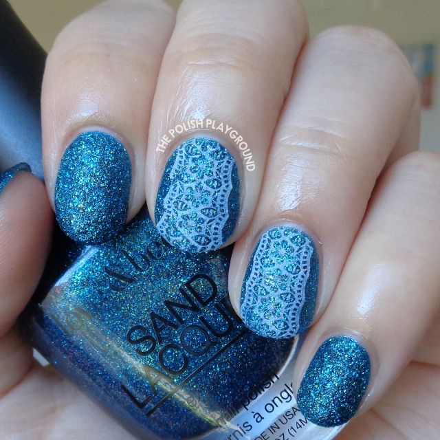 Blue Texture with White Floral Lace Stamping