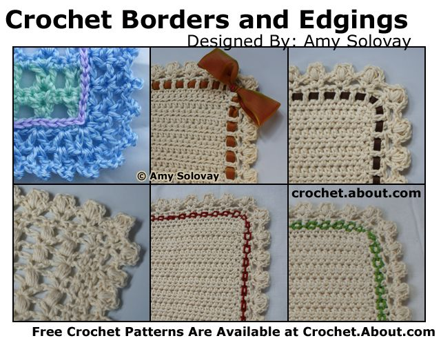 Get free patterns for crochet lace edgings, trims, borders, and fringe…