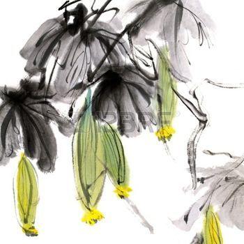 china ink: Pittura cinese colorato, opera di inchiostro tradizionale di fiori su sfondo bianco.